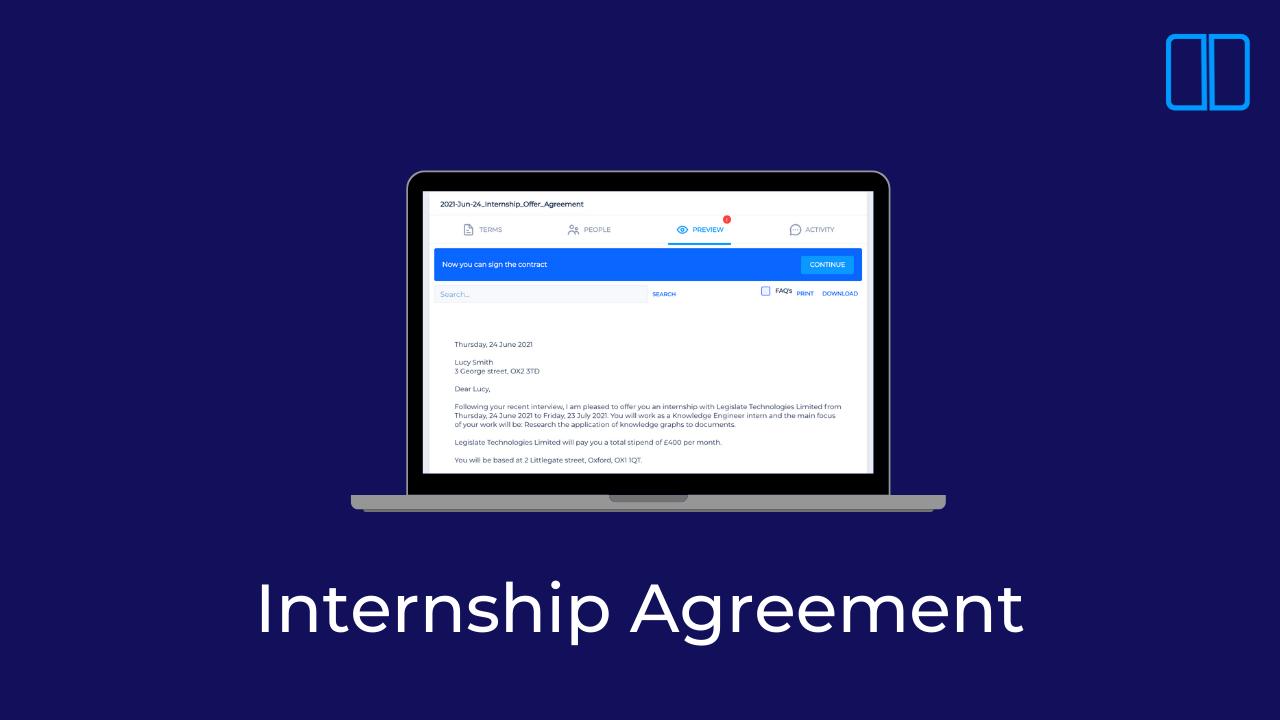 How to create an internship agreement with Legislate