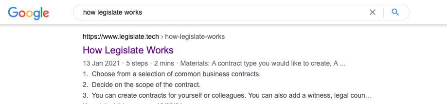 A screen shot of the Rich Results of How Legislate works in Google search