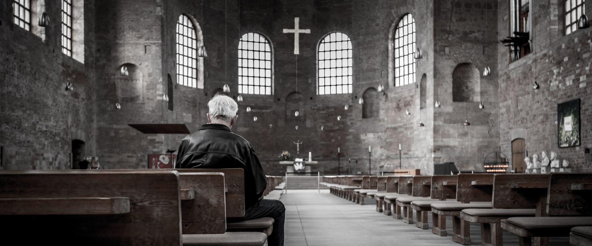 lone man in church