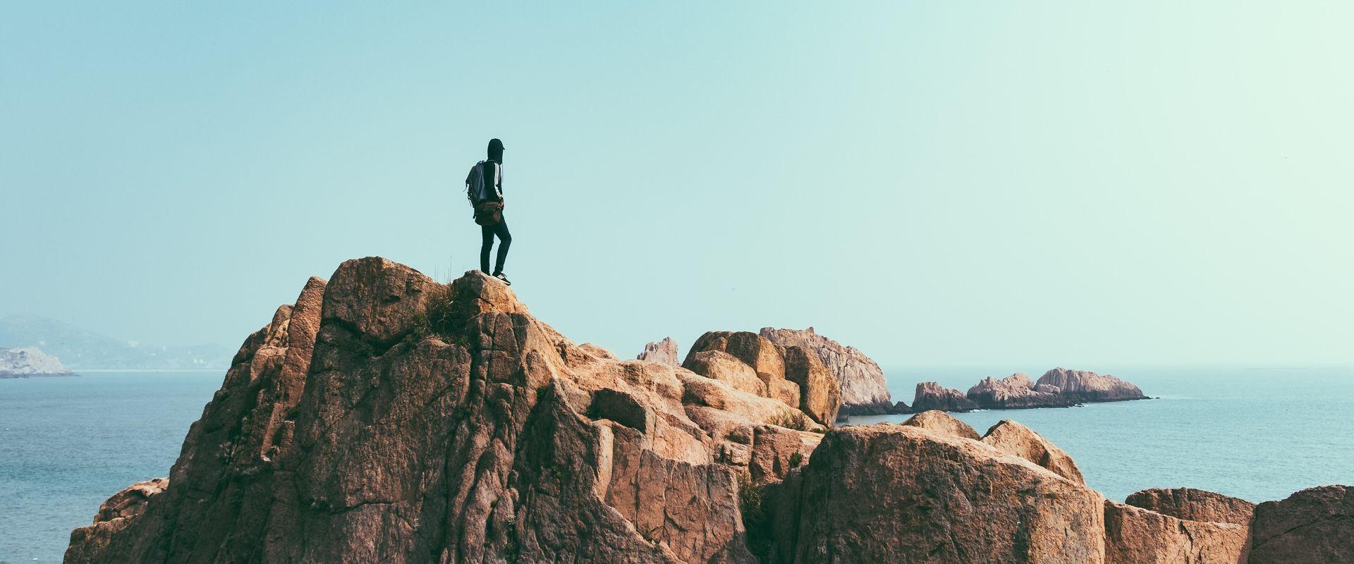 man on cliffside