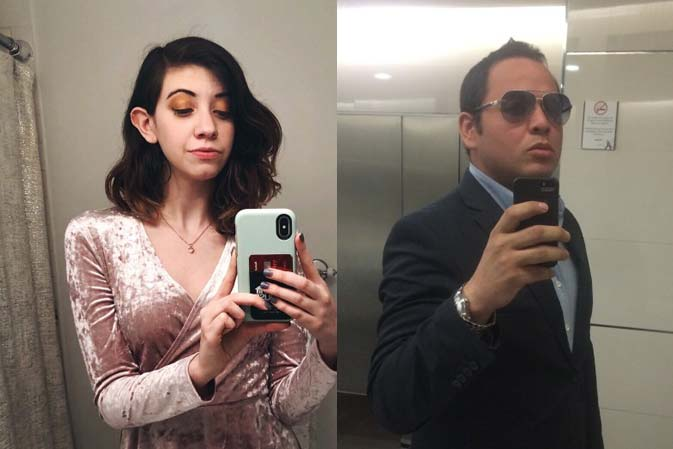 female and male mirror selfies