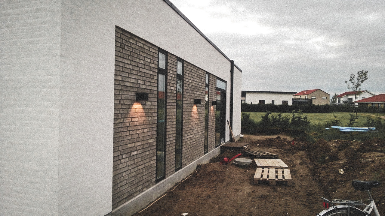 Billede af et igangværende byggeri i Roskilde, tegnet af arkitektfirmaet m2plus.