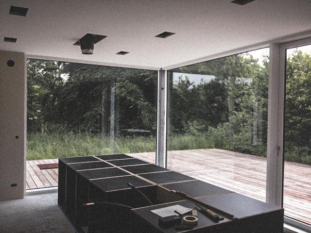 Billede af et igangværende byggeri i Drastrup / Aalborg, tegnet af arkitektfirmaet m2plus.