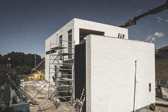 Billede af et igangværende byggeri i Byggemøde - Brønshøj, tegnet af arkitektfirmaet m2plus.