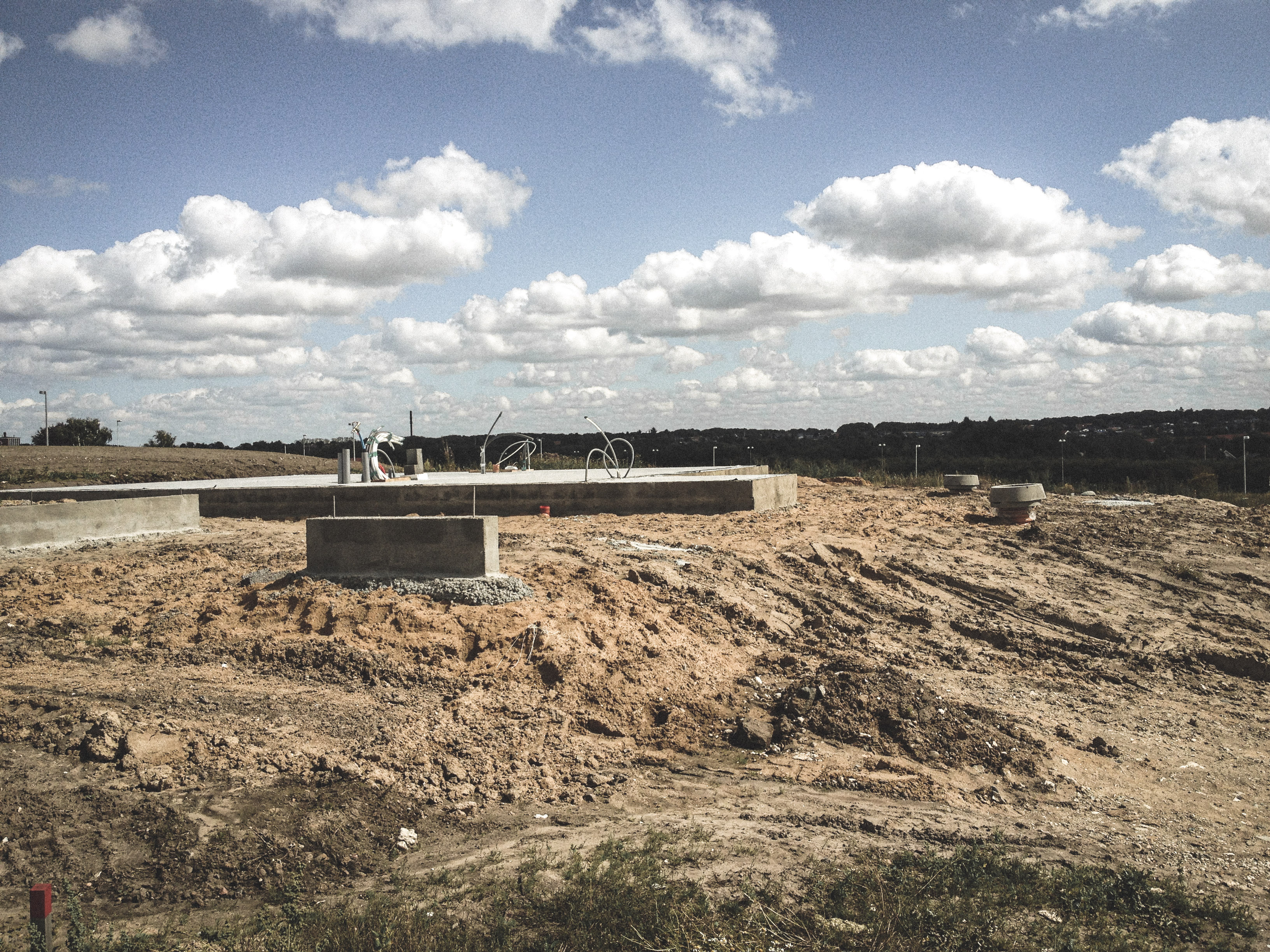 Billede af et igangværende byggeri i Skive, tegnet af arkitektfirmaet m2plus.
