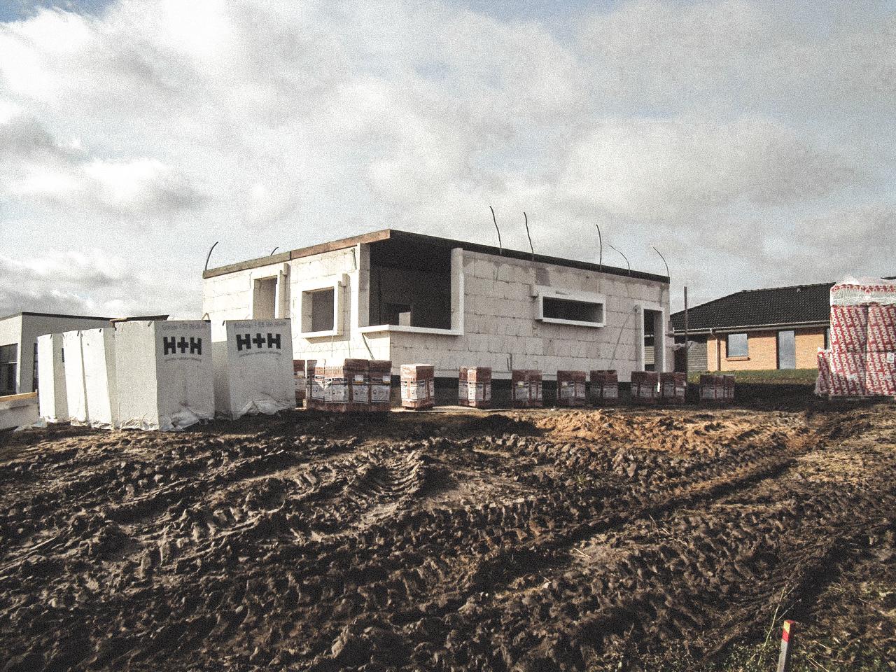 Billede af et igangværende byggeri i Status i Skive, tegnet af arkitektfirmaet m2plus.
