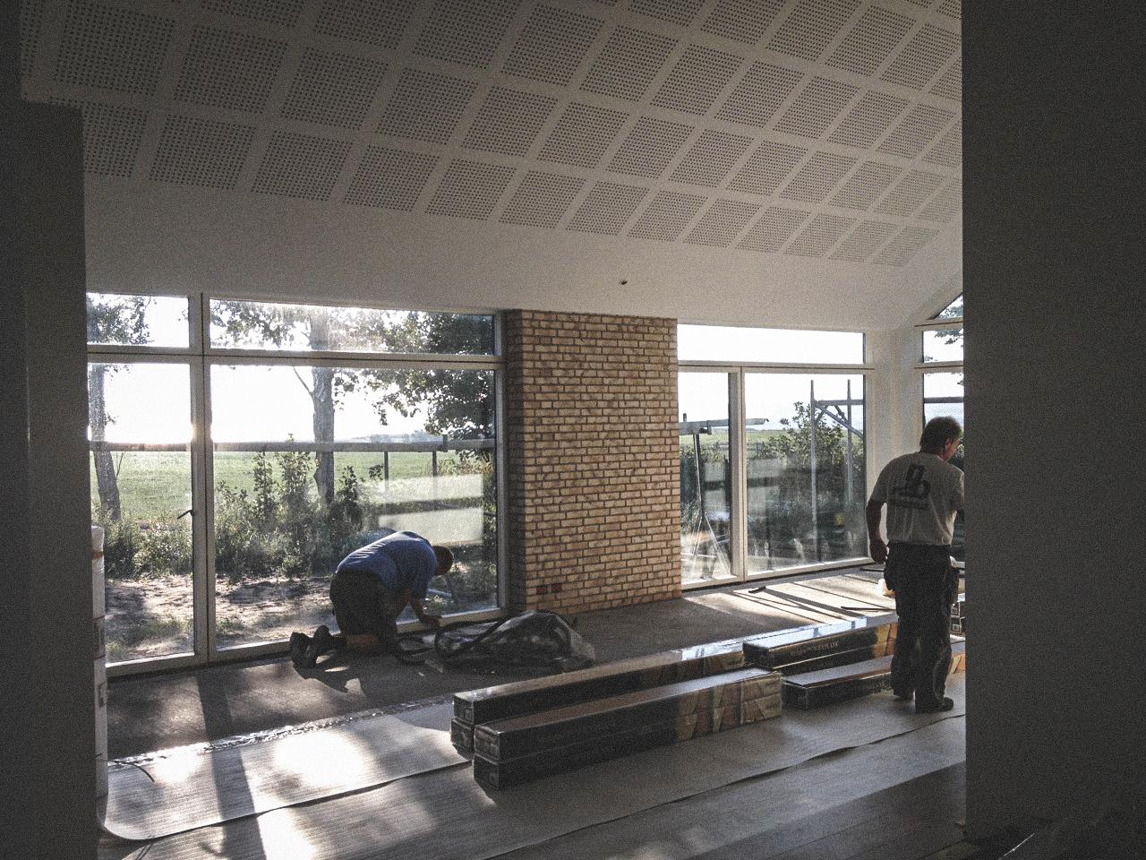 Billede af et igangværende byggeri i Status Nibe/Valsted, tegnet af arkitektfirmaet m2plus.