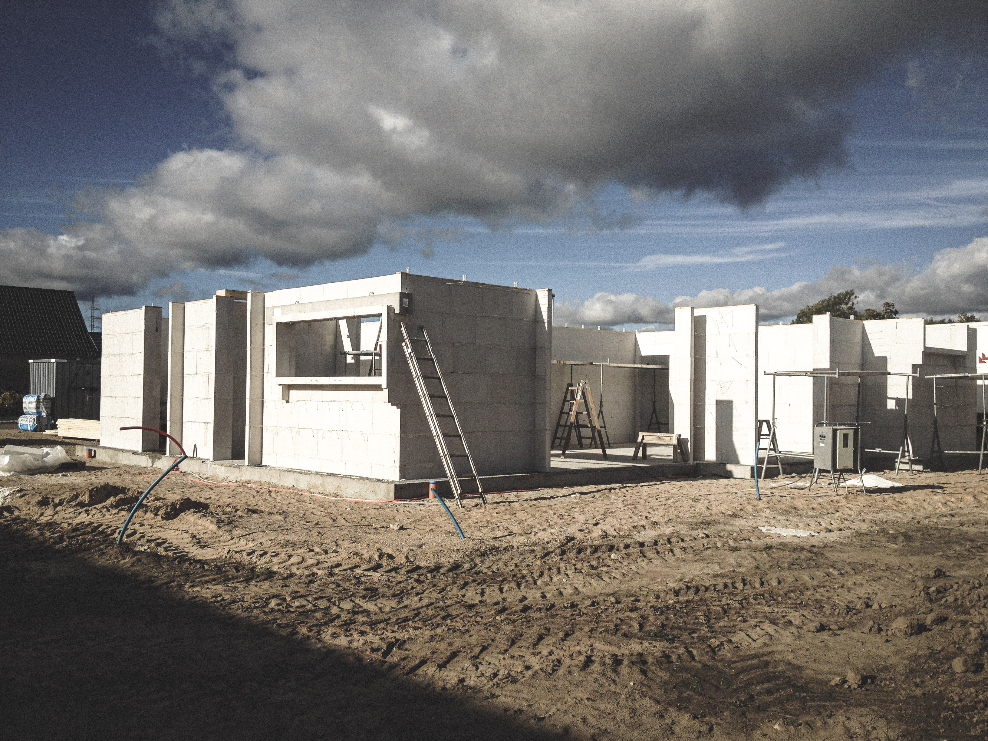 Billede af et igangværende byggeri i Status Lystrup, tegnet af arkitektfirmaet m2plus.