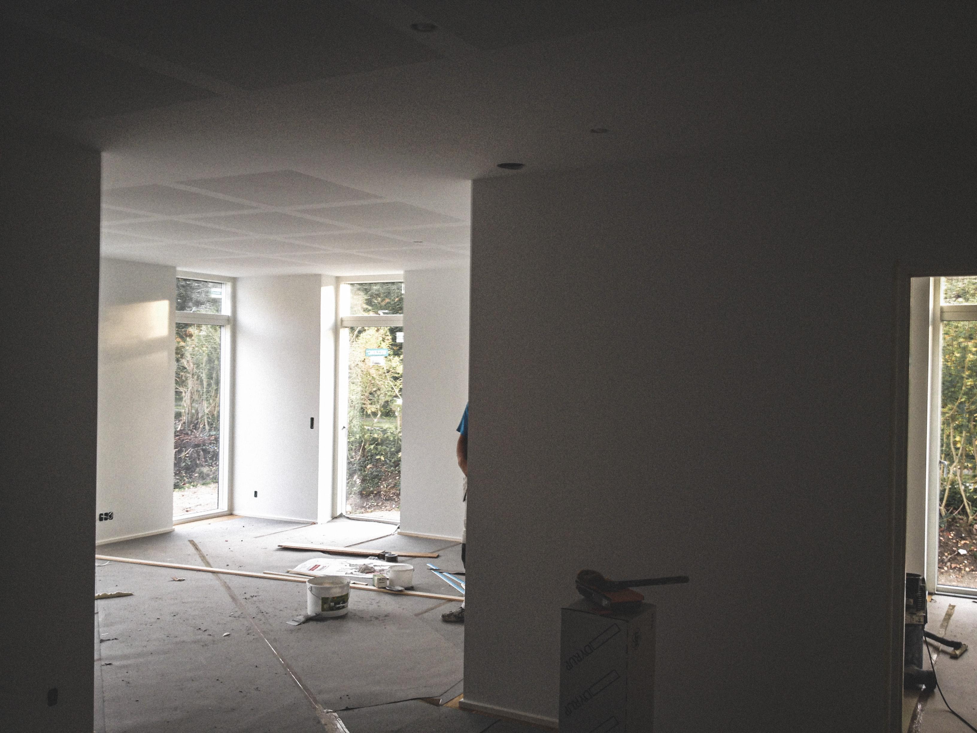 Billede af et igangværende byggeri i Birkerød, tegnet af arkitektfirmaet m2plus.