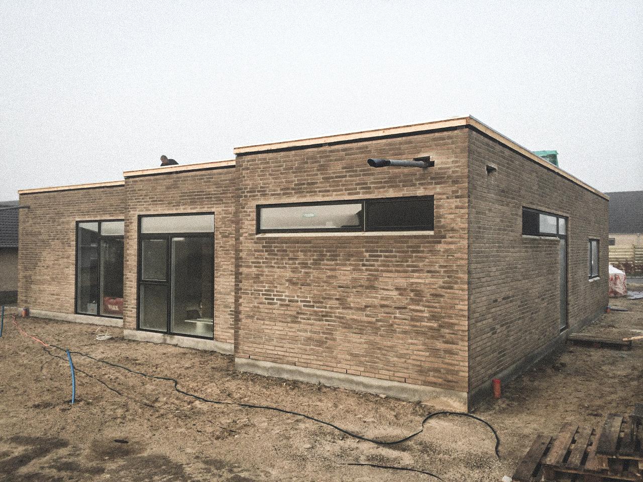 Billede af et igangværende byggeri i Lystrup, tegnet af arkitektfirmaet m2plus.