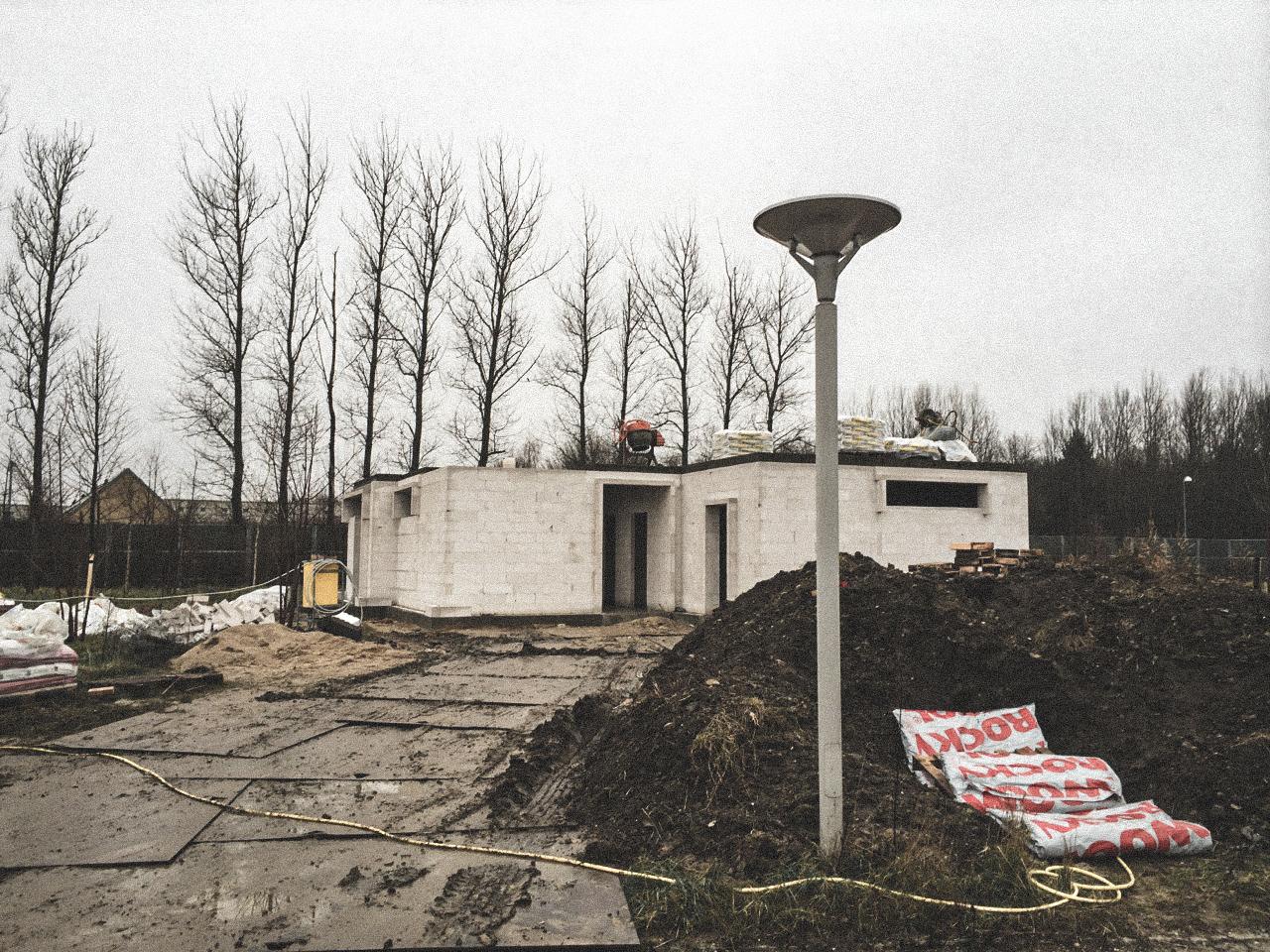 Billede af et igangværende byggeri i Glostrup, tegnet af arkitektfirmaet m2plus.