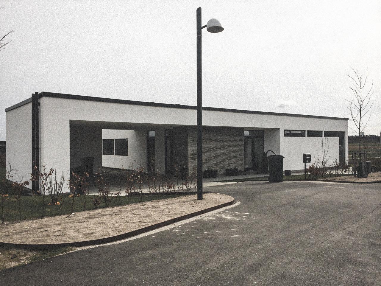 Billede af et igangværende byggeri i Roskilde gensyn, tegnet af arkitektfirmaet m2plus.