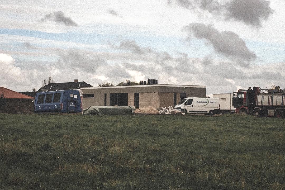 Billede af et igangværende byggeri i Viborg, tegnet af arkitektfirmaet m2plus.