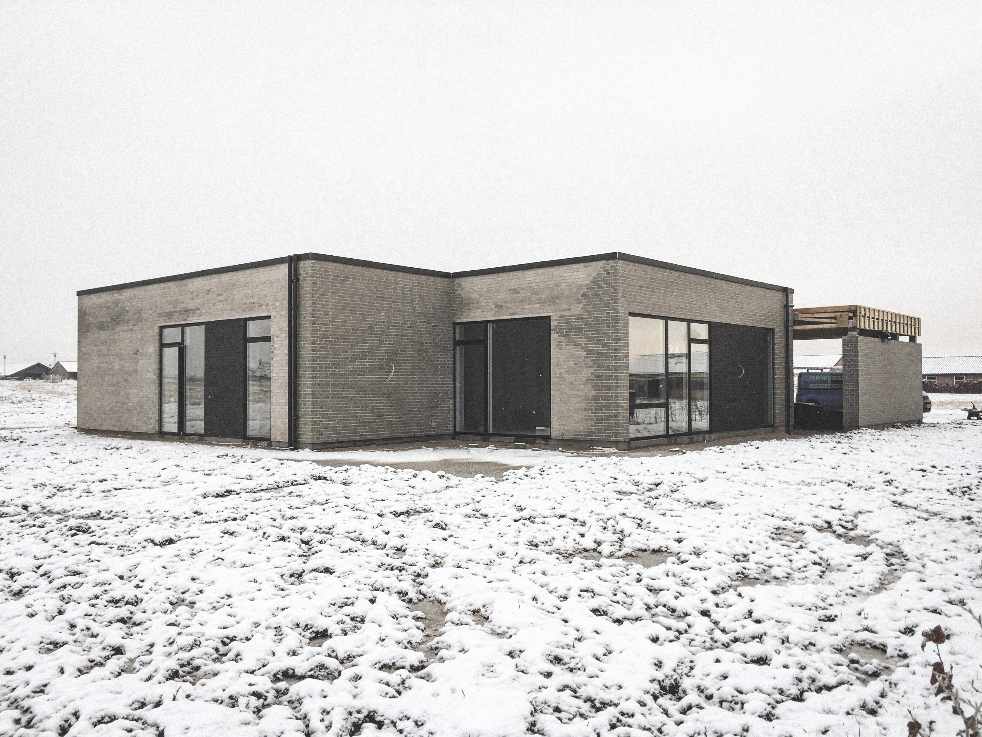 Billede af et igangværende byggeri i Randers, tegnet af arkitektfirmaet m2plus.