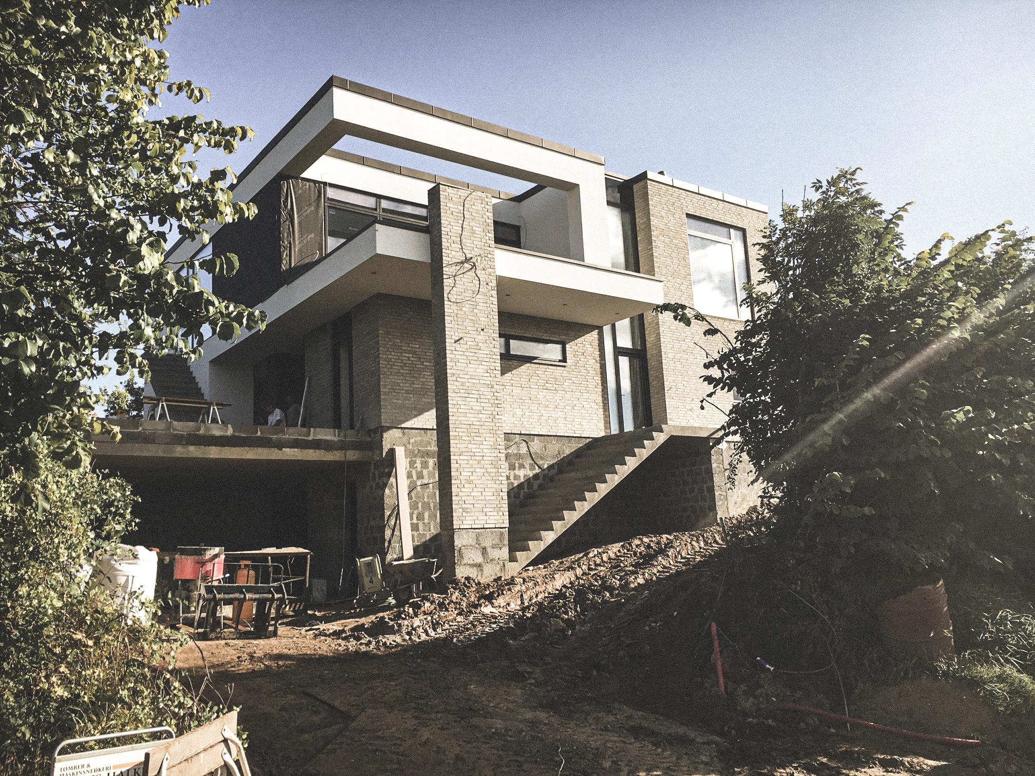 Billede af et igangværende byggeri i Kolding, tegnet af arkitektfirmaet m2plus.