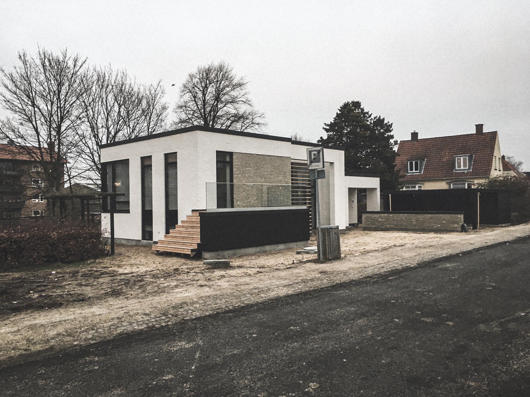 Billede af et igangværende byggeri i Kgs. Lyngby, tegnet af arkitektfirmaet m2plus.