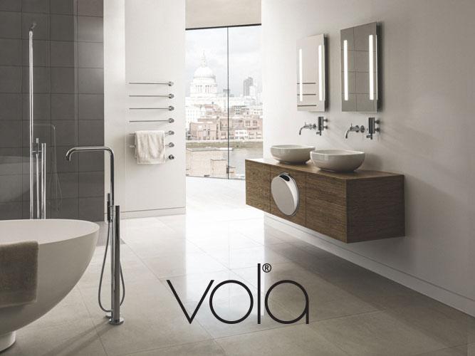 Vola logo og baggrundsbillede, linket til deres side.