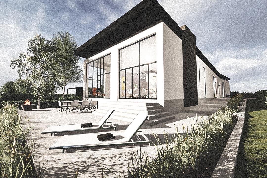 Billede af Dansk arkitekttegnet 1 plan villa af arkitektfirmaet m2plus, i Roskilde på 388 kvartratmeter.