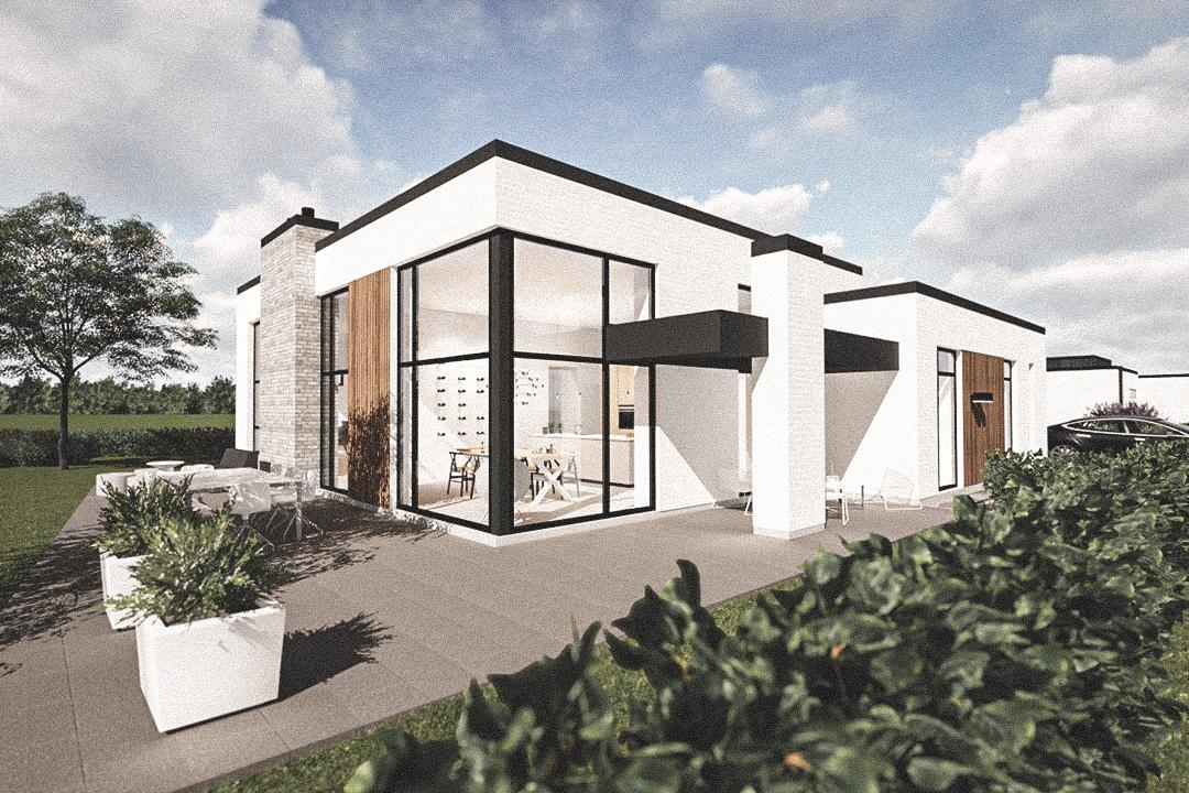 Billede af Dansk arkitekttegnet 1 plan villa af arkitektfirmaet m2plus, i Holsterbro på 199 kvartratmeter.