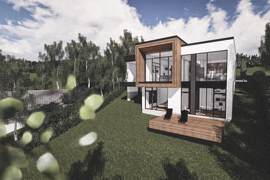 Billede af Dansk arkitekttegnet 2 plan villa af arkitektfirmaet m2plus, i Sejs på 196 kvartratmeter.