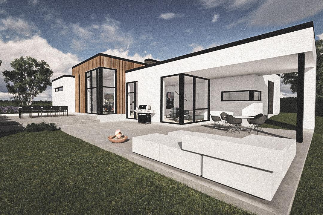 Billede af Dansk arkitekttegnet 1 plan villa af arkitektfirmaet m2plus, i Hvalsø på 206 kvartratmeter.