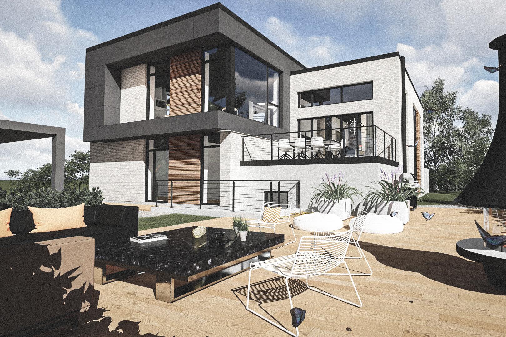 Billede af Dansk arkitekttegnet 3 plan villa af arkitektfirmaet m2plus, i Aarhus på 344 kvartratmeter.