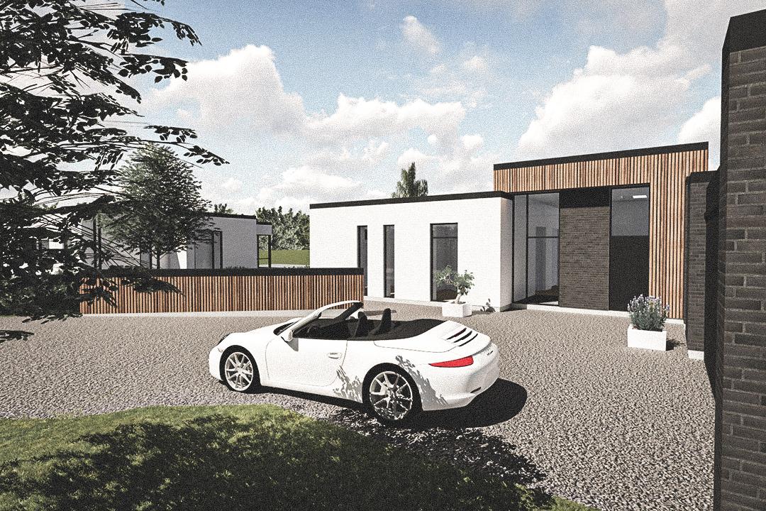 Billede af Dansk arkitekttegnet 1 plan villa af arkitektfirmaet m2plus, i Støvring på 200 kvartratmeter.