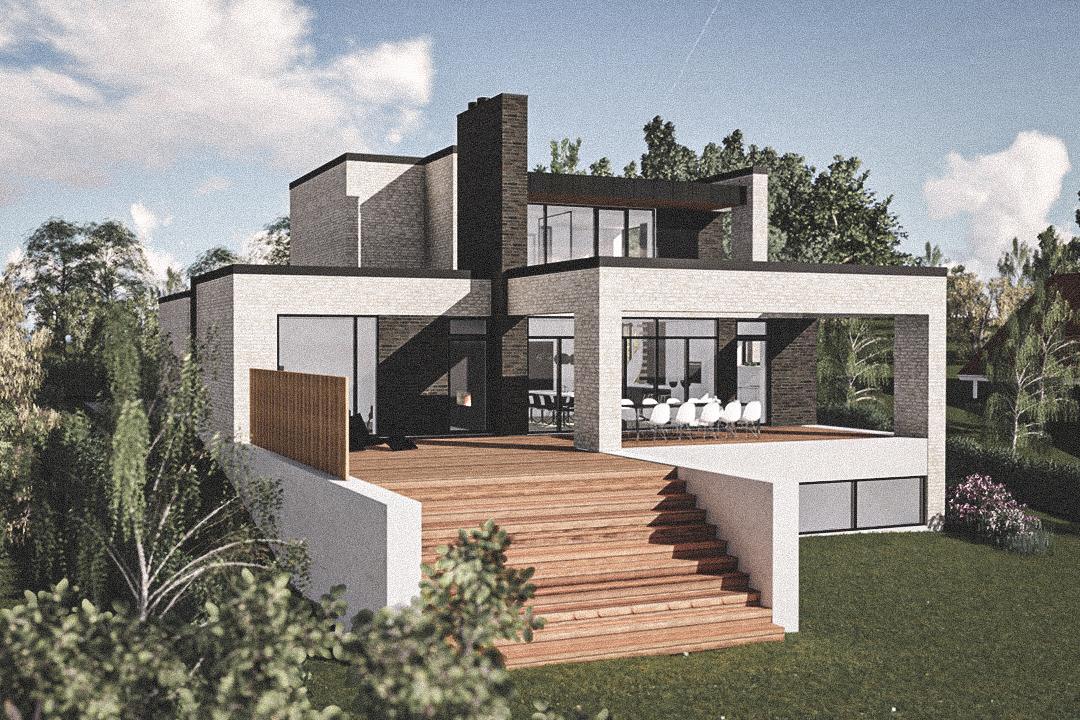 Billede af Dansk arkitekttegnet 3 plan villa af arkitektfirmaet m2plus, i Frederikssund på 318 kvartratmeter.