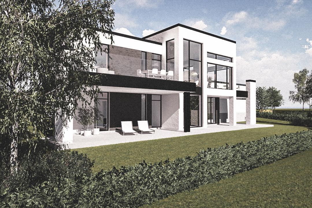 Billede af Dansk arkitekttegnet parterreplan villa af arkitektfirmaet m2plus, i Hinnerup på 220 kvartratmeter.