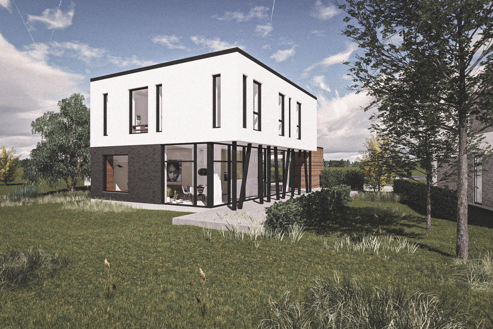 Billede af Dansk arkitekttegnet 2 plan villa af arkitektfirmaet m2plus, i Vinge på 214 kvartratmeter.