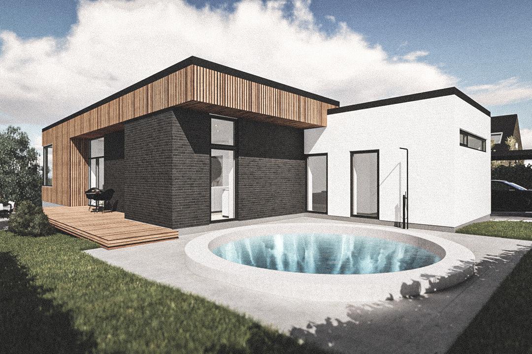 Billede af Dansk arkitekttegnet 1 plan villa af arkitektfirmaet m2plus, i Virum på 205 kvartratmeter.
