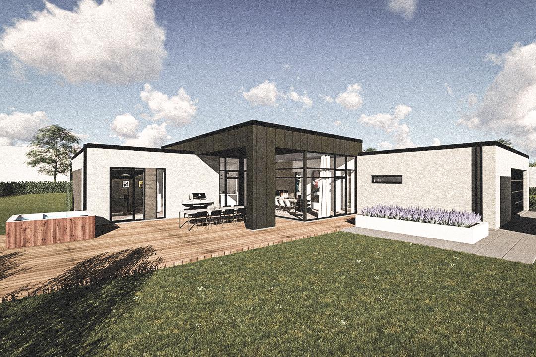 Billede af Dansk arkitekttegnet 1 plan villa af arkitektfirmaet m2plus, i Hjallerup på 255 kvartratmeter.
