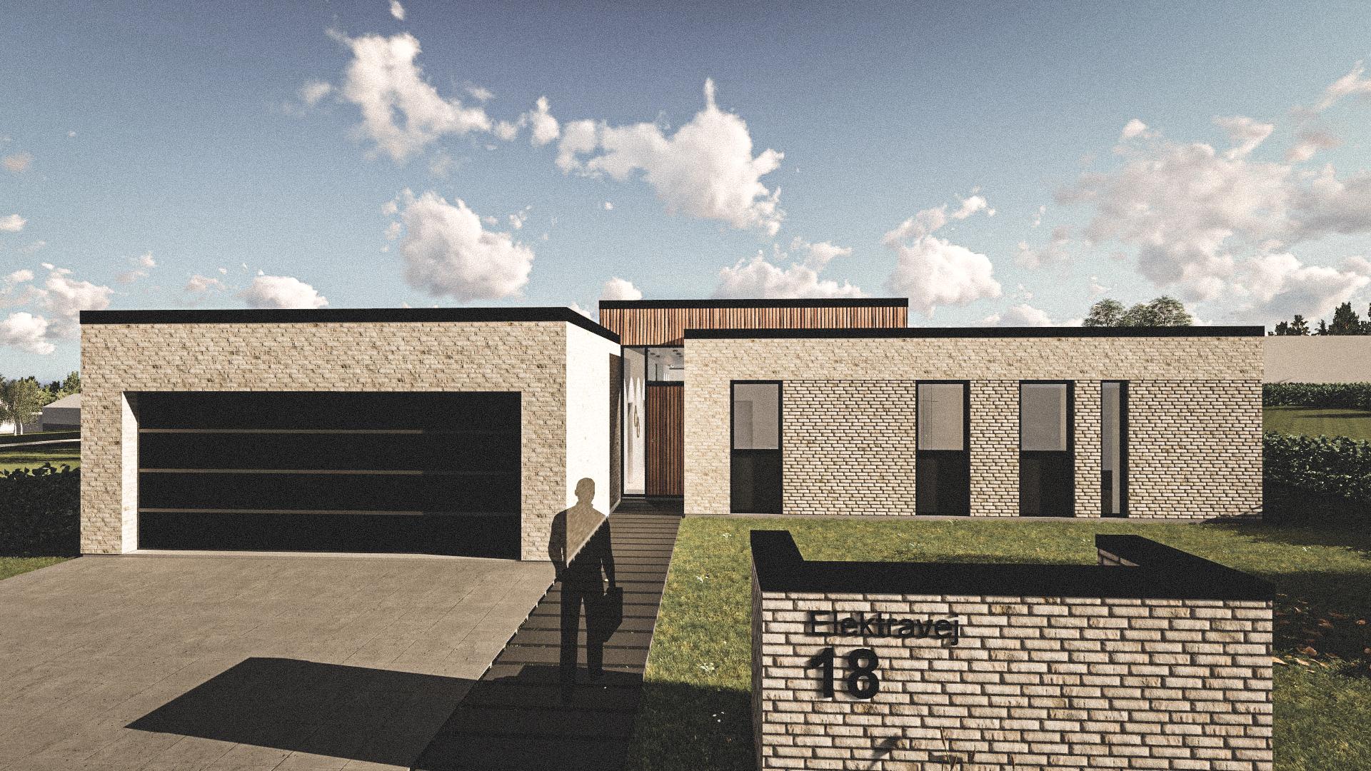 Billede af Dansk arkitekttegnet 1 plan villa af arkitektfirmaet m2plus, i Elektravej 18 på 205 kvartratmeter.