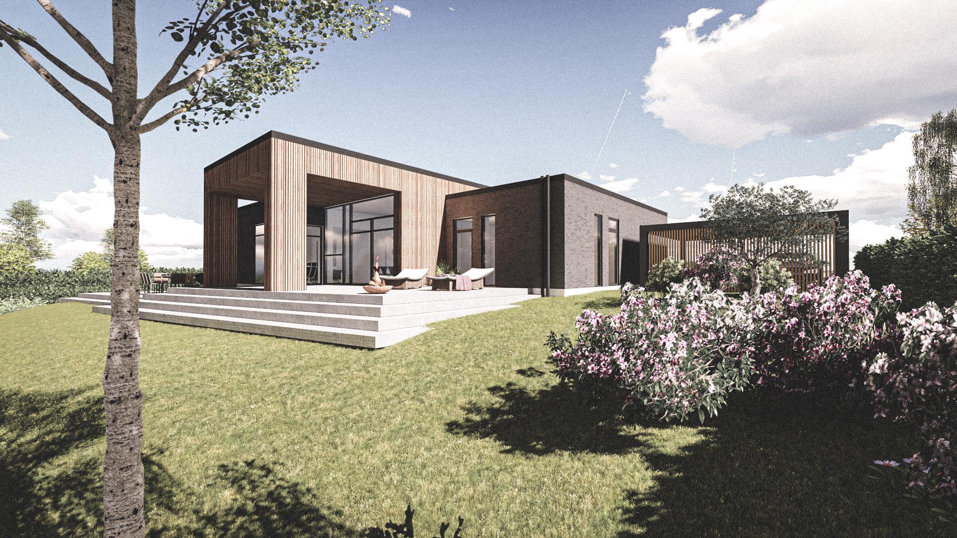 Billede af Dansk arkitekttegnet 1 plan villa af arkitektfirmaet m2plus, i Gjern på 166 kvartratmeter.