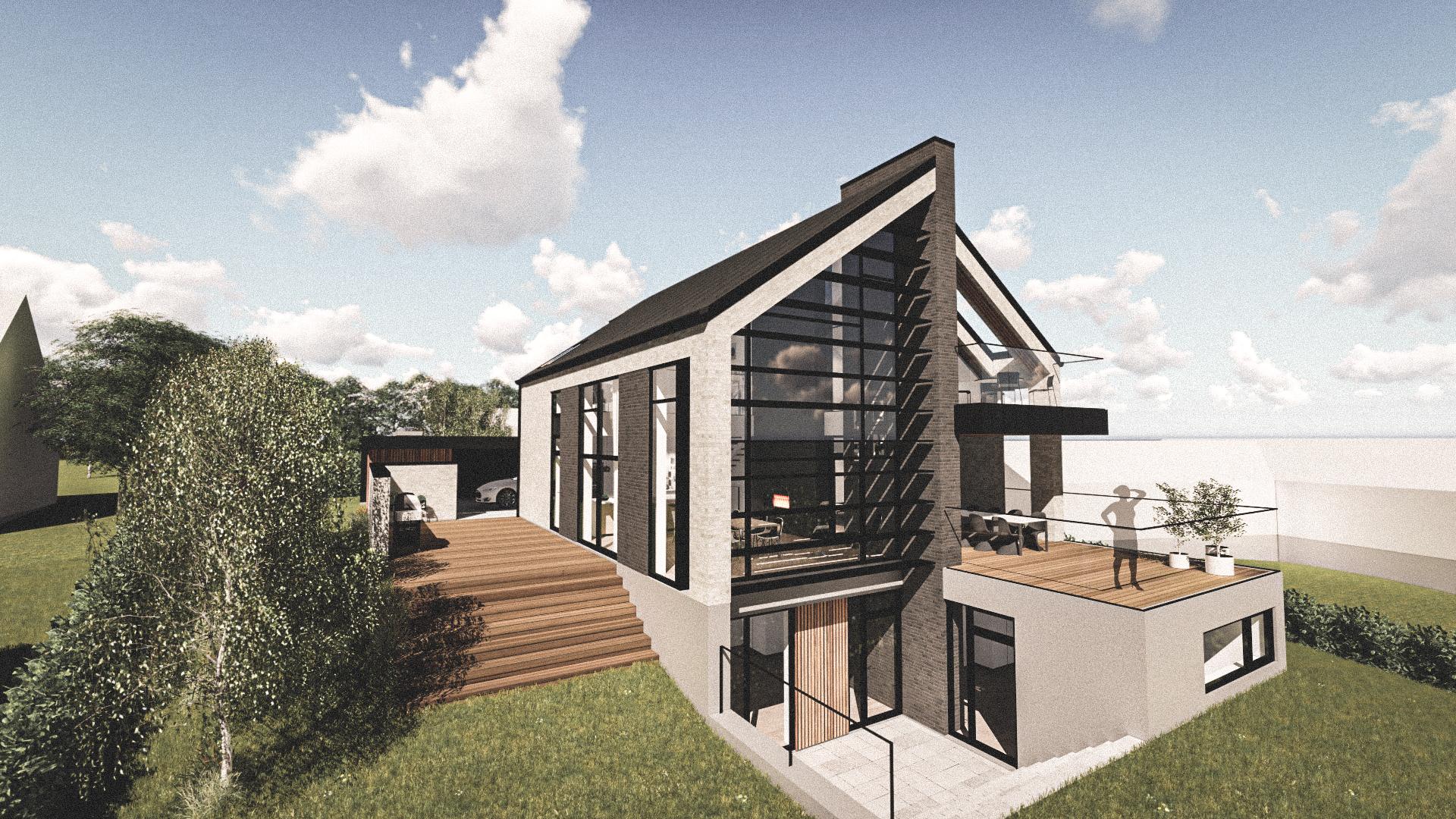 Billede af Dansk arkitekttegnet 3 plan villa af arkitektfirmaet m2plus, i Frederikssund på 347 kvartratmeter.