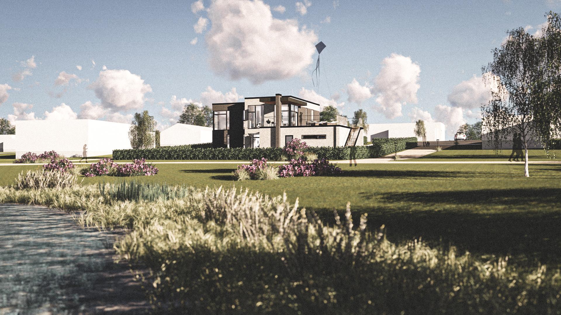 Billede af Dansk arkitekttegnet 2 plan villa af arkitektfirmaet m2plus, i Solbjerg på 223 kvartratmeter.