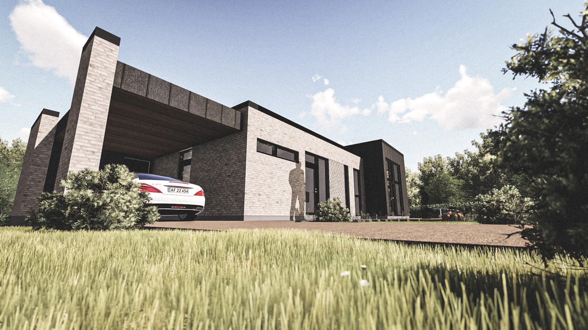 Billede af Dansk arkitekttegnet 1 plan villa af arkitektfirmaet m2plus, i Auning på 184 kvartratmeter.