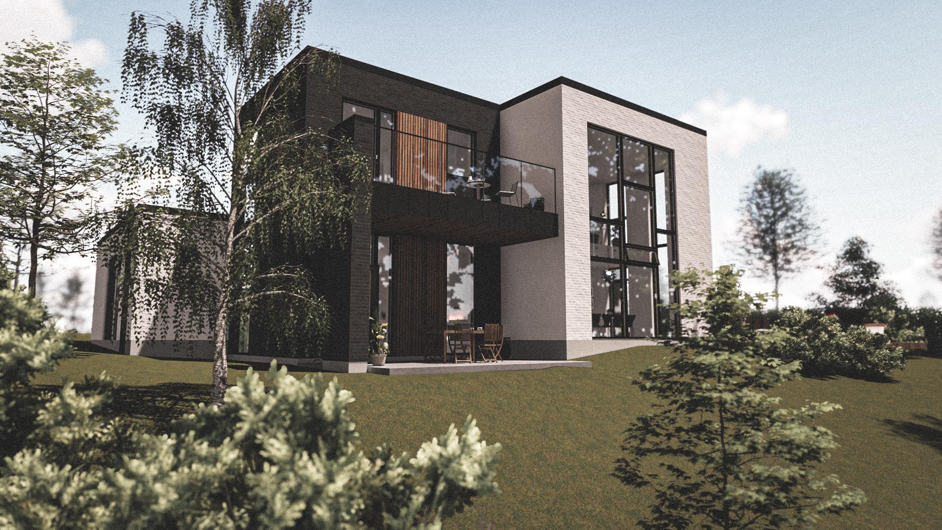 Billede af Dansk arkitekttegnet 2 plan villa af arkitektfirmaet m2plus, i Ikast på 280 kvartratmeter.