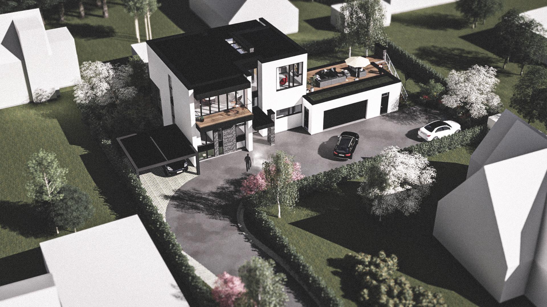 Billede af Dansk arkitekttegnet 3 plan villa af arkitektfirmaet m2plus, i Rungsted på 385 kvartratmeter.