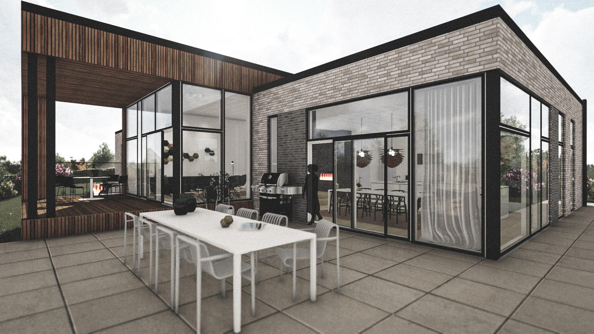 Billede af Dansk arkitekttegnet 1 plan villa af arkitektfirmaet m2plus, i Hvalsø på 230 kvartratmeter.