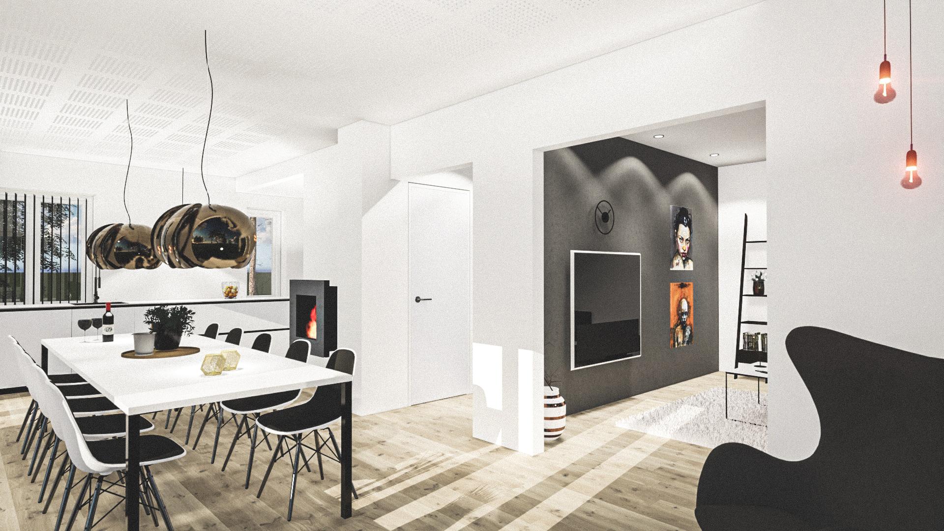Billede af Dansk arkitekttegnet 1 plan villa af arkitektfirmaet m2plus, i Frederiksund på 225 kvartratmeter.