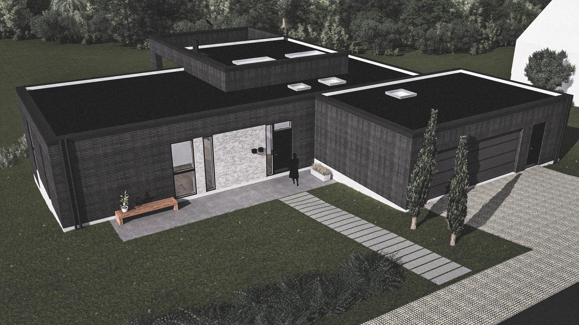 Billede af Dansk arkitekttegnet 1 plan villa af arkitektfirmaet m2plus, i Langhus på 178 kvartratmeter.