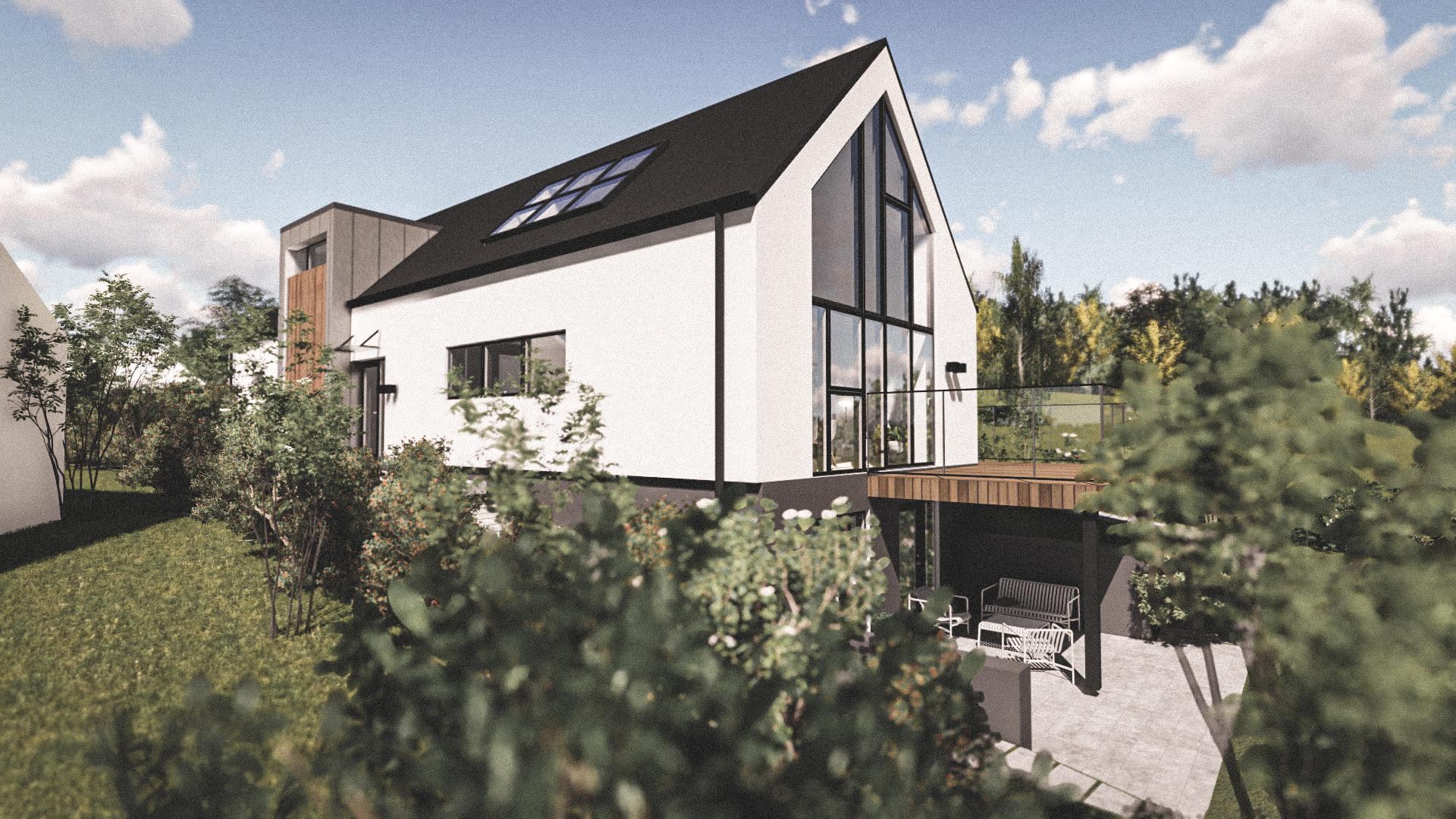 Billede af Dansk arkitekttegnet 3 plan villa af arkitektfirmaet m2plus, i Værløse på 339 kvartratmeter.