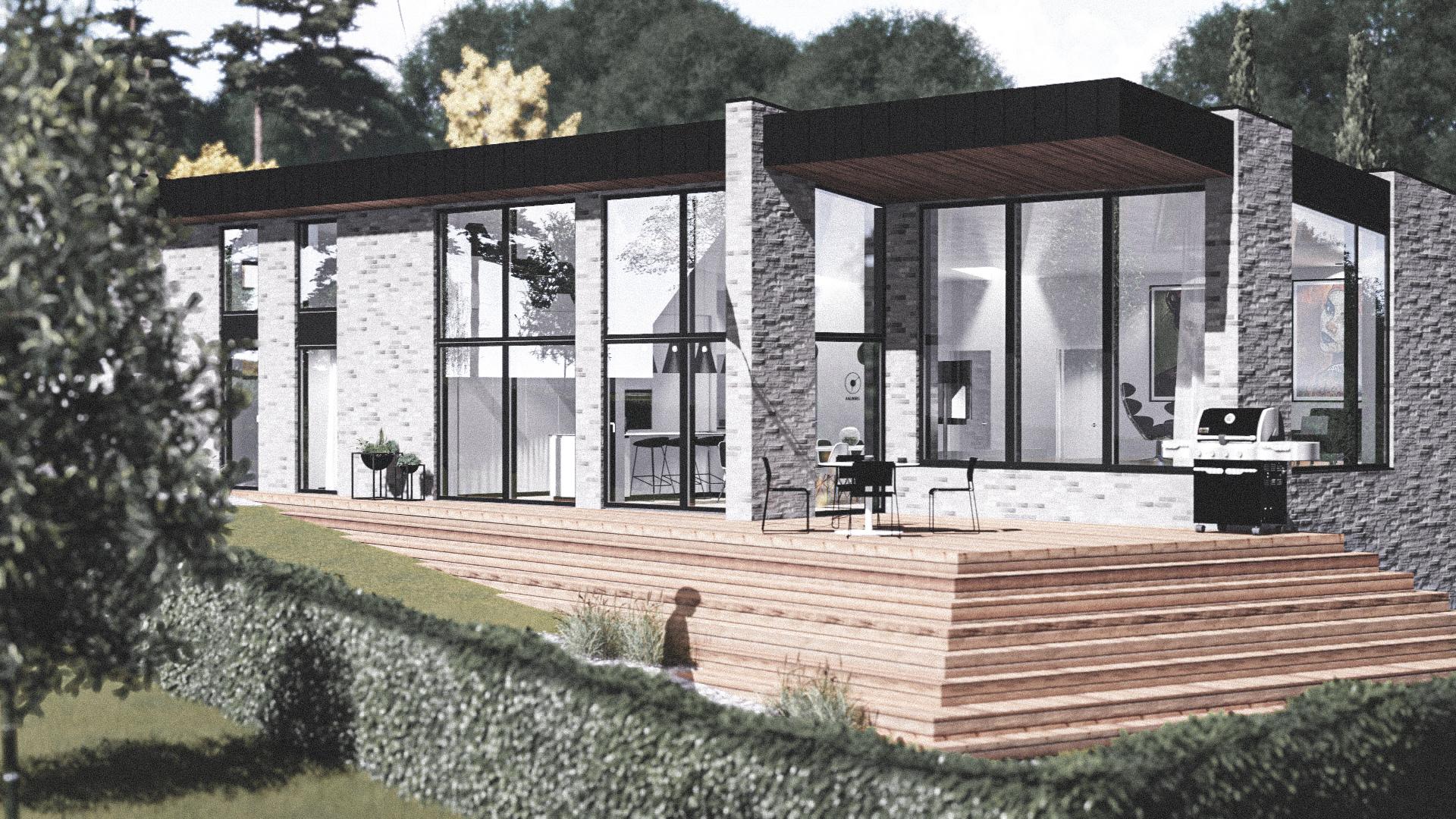 Billede af Dansk arkitekttegnet 1 plan villa af arkitektfirmaet m2plus, i Aalborg på 200 kvartratmeter.