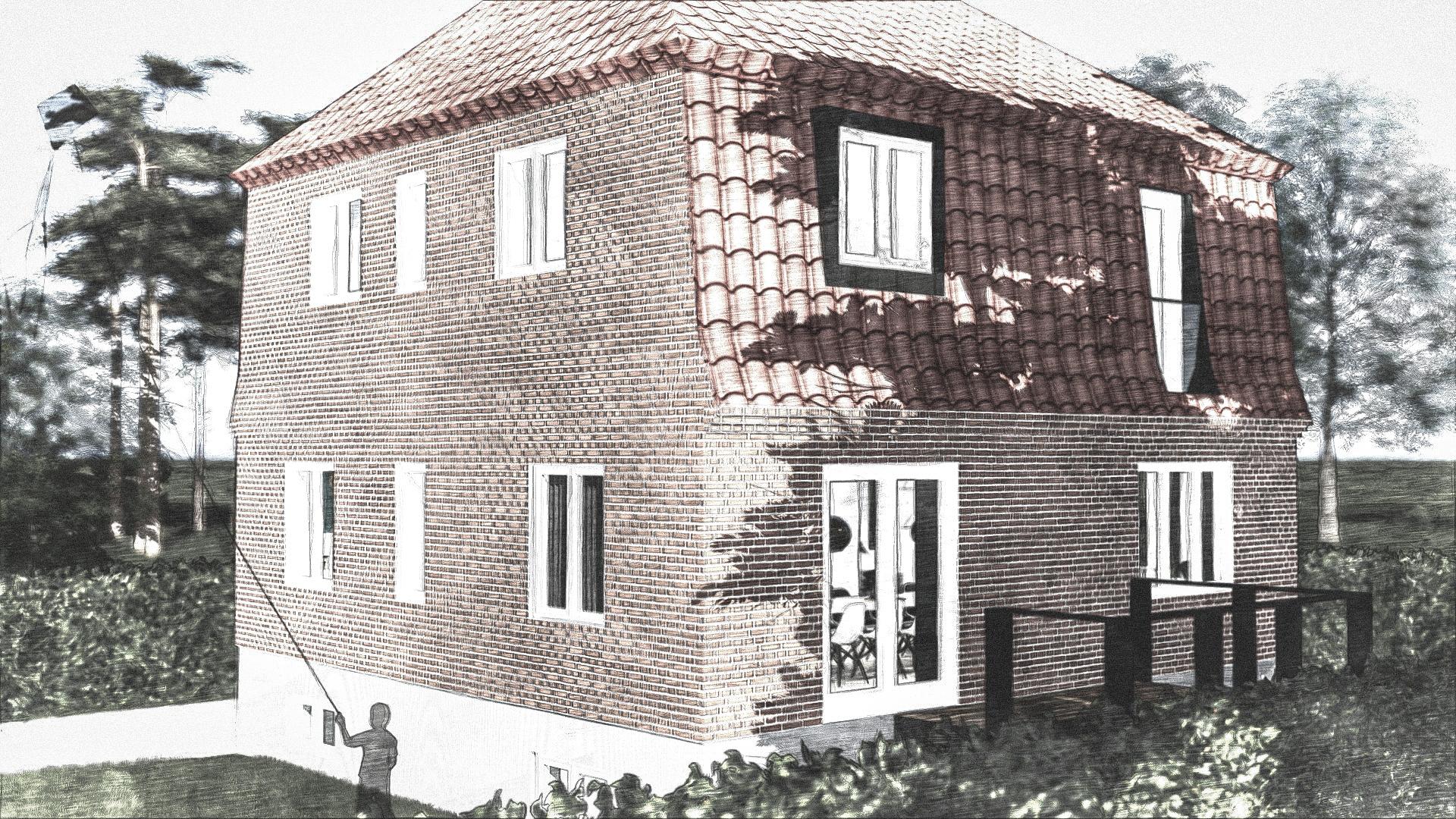 Billede af Dansk arkitekttegnet 2 plan villa af arkitektfirmaet m2plus, i Vanløse på 150 kvartratmeter.