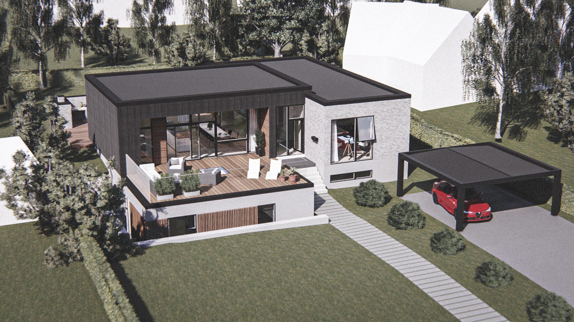 Billede af Dansk arkitekttegnet 2 plan villa af arkitektfirmaet m2plus, i Birkerød på 305 kvartratmeter.