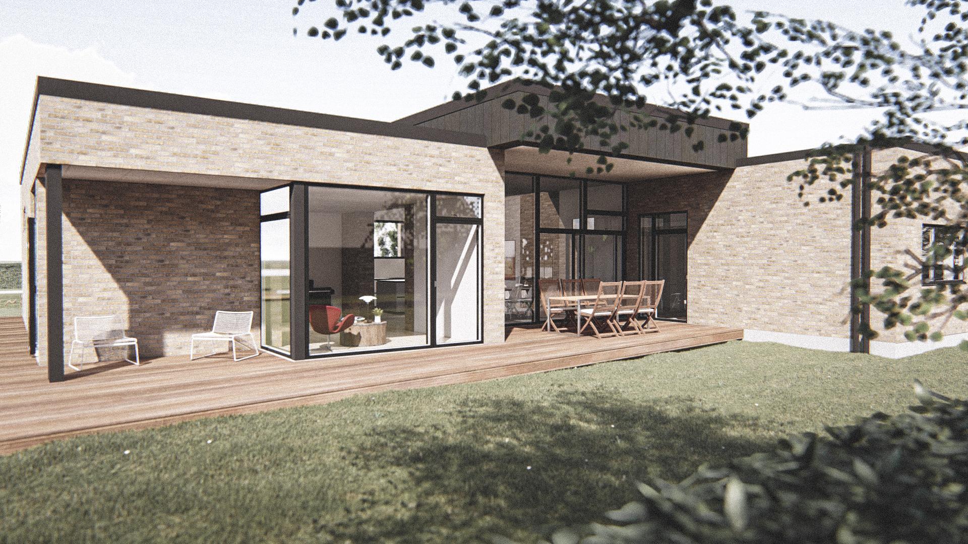 Billede af Dansk arkitekttegnet 1 plan villa af arkitektfirmaet m2plus, i Herning på 238 kvartratmeter.