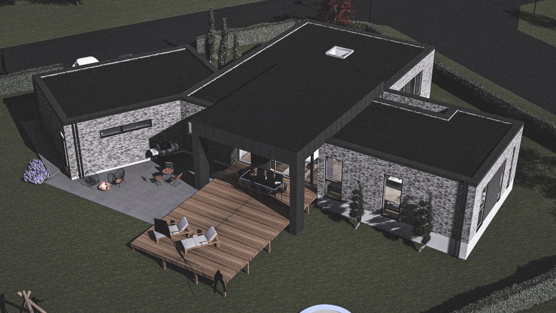 Billede af Dansk arkitekttegnet 1 plan villa af arkitektfirmaet m2plus, i Hjallerup på 204 kvartratmeter.
