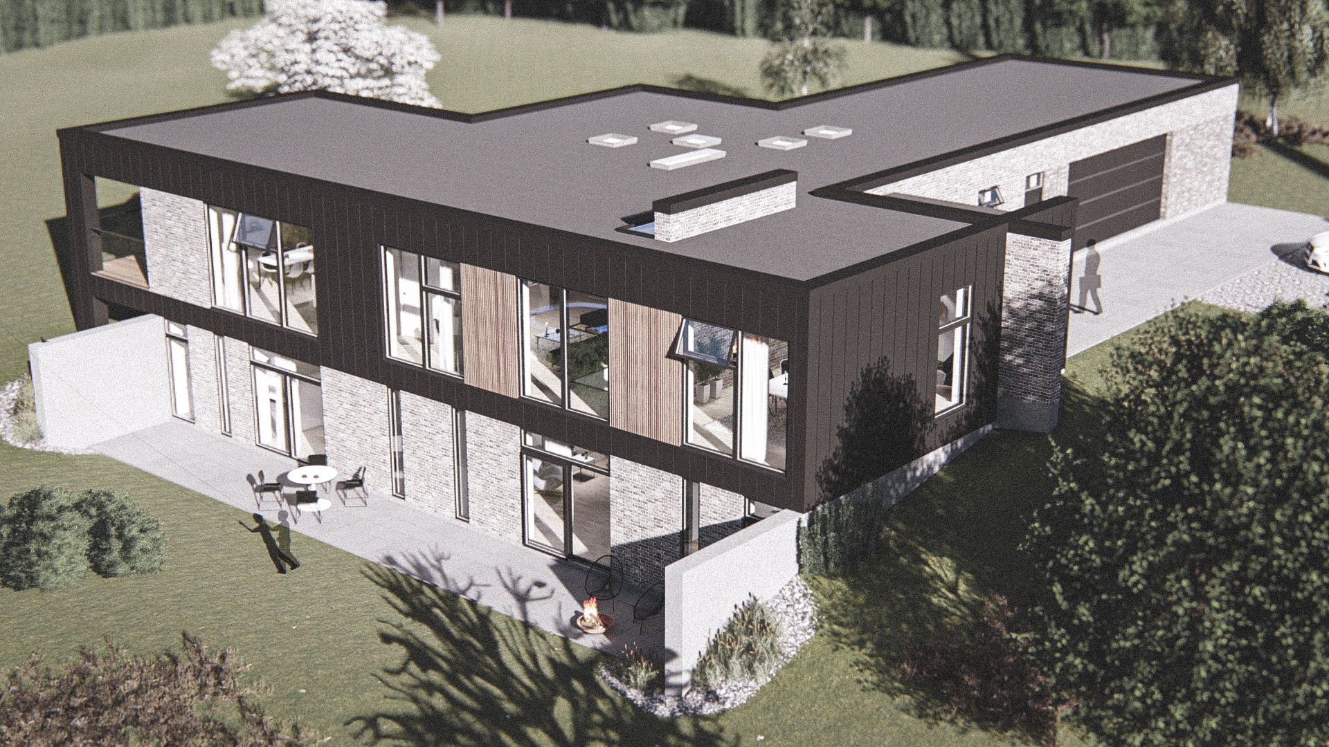 Billede af Dansk arkitekttegnet 2 plan villa af arkitektfirmaet m2plus, i Fjerritslev på 376 kvartratmeter.