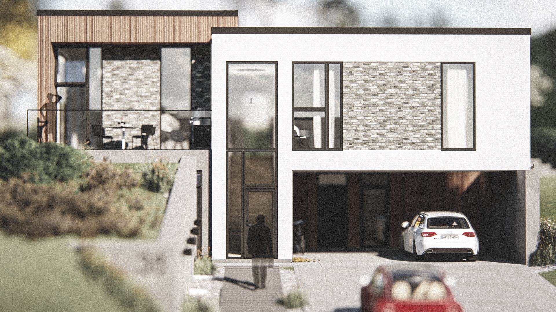 Billede af Dansk arkitekttegnet 2 plan villa af arkitektfirmaet m2plus, i Bagsværd på 231 kvartratmeter.